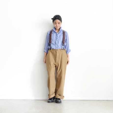 ichiAntiquités 100321 Cotton Wool Pants + Suspenders / BEIGE