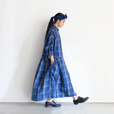 【ONLINE LIMITED】 ichiAntiquités 600950 INDIGO Linen Check Shirt Dress / B : NAVY