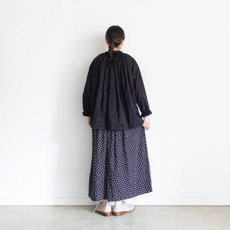 """LIMITED COLOR"" ichi 201019 Dot Gather Skirt / C : BLACK"