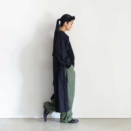 ichiAntiquités  601239  KHADI Cotton Pintuck Flare Shirt Dress / B : BLACK