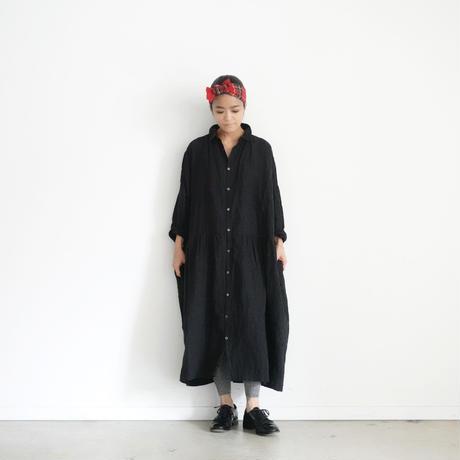 ichiAntiquités 100629 Linen Shirt Dress / BLACK
