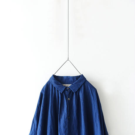ichiAntiquités 600613  INDIGO Linen Shirt Dress / INDIGO