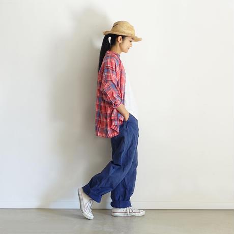 ichiAntiquités 600915 Linen Farmers Tartan Shirt / A : RED