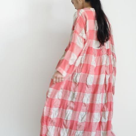 ichiAntiquités 100616 Linen Wool Block Check Dress / PINK