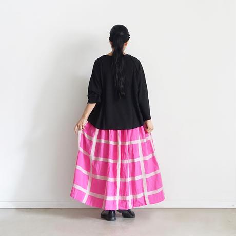 ichiAntiquités 601212 Lattice Linen Check Skirt / 2 COLORS
