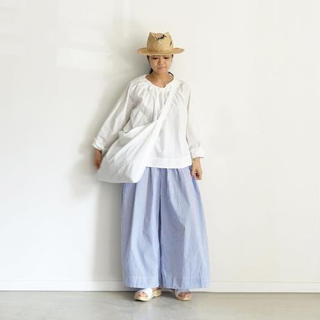 【ONLINE LIMITED】ichiAntiquités 600939 Cotton STRIPES Relax Pants + BAG / B : WHITE × BLUE
