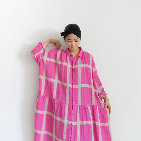 ichiAntiquités 601211 Lattice Linen Check Shirt Dress / B : PINK