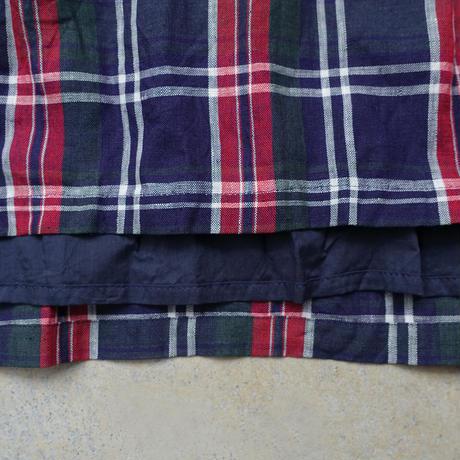 ichiAntiquités 600917 Linen Farmers Tartan Skirt / C : NAVY