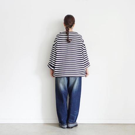 ichi 210442 Cotton Border Pullover / C : WHITE × BLACK