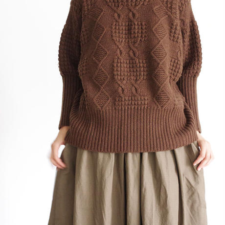 i c h i 180487 Patchwork Knit Crew-neck Pullover / Brown