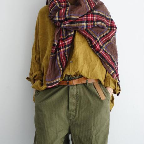 ichiAntiquités  700325 Wool Tartan Stole / B : BROWN