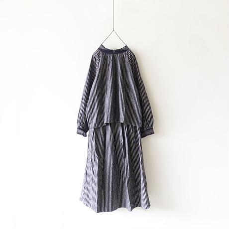 ichi 190414 Stripe Skirt / NAVY