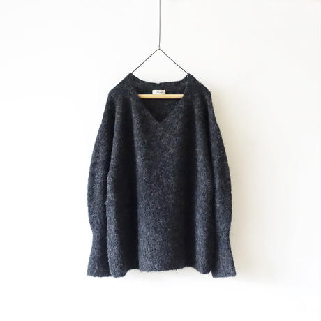 ichiAntiquités 600669 Alpaca Wool V-neck Knit Pullover / C : CHARCOAL