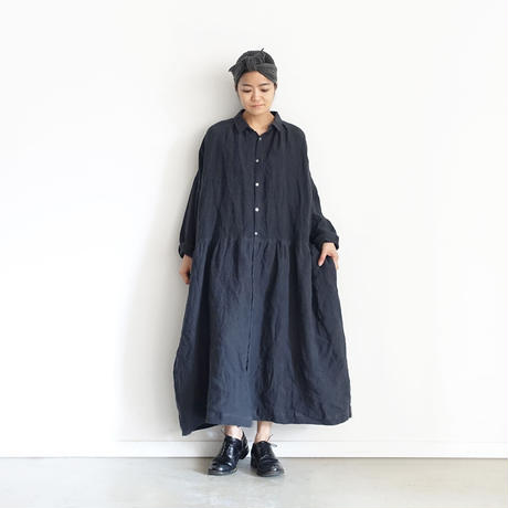 ichiAntiquités 600610 AZUMADAKI Linen Stripes Shirt Dress / D : BLACK
