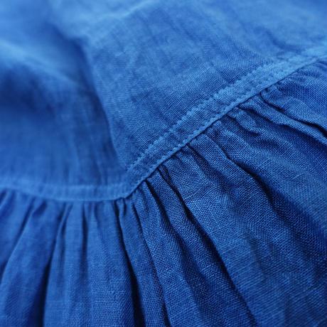 ichiAntiquités  601247  Natural Handdye Linen Volume Dress / B : INDIGO  DARK