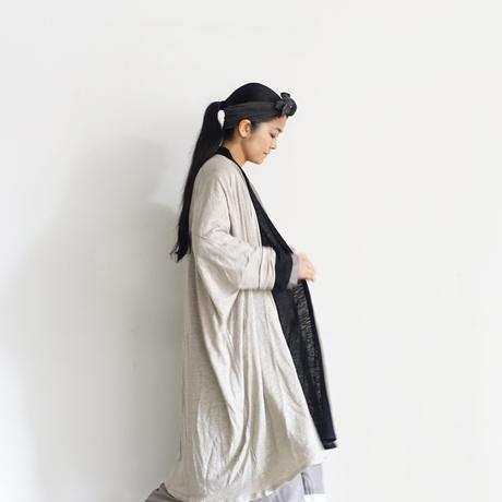 【ONLINE LIMITED】ichiAntiquités 600948 Linen Long Robe Cardigan / D : BLACK