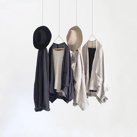 ichiAntiquités 600330 Linen AZUMADAKI Short Robe / D : BLACK