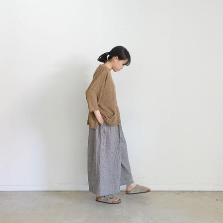 ichi 200333 Linen Cotton Check Pants / BEIGE GINGHAM ・BEIGE CHECK