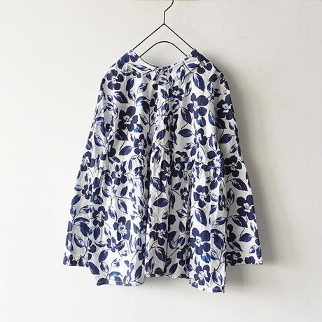 i c h i 181106 Cotton Flower Blouse / Blue