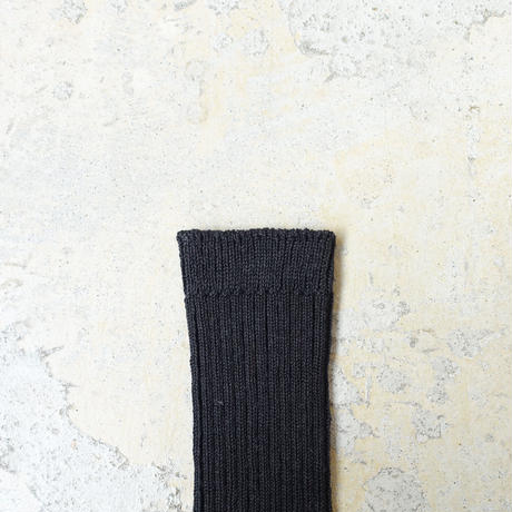 Loiter L019 Linen Color Rib Socks / 2 COLORS : COFFEE・BLACK