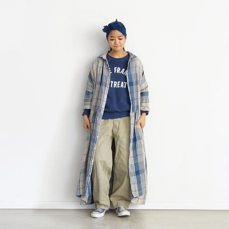 【ONLINE LIMITED】 ichiAntiquités 600950 INDIGO Linen Check Shirt Dress / A : NATURAL