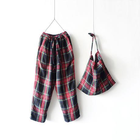 【ONLINE LIMITED】ichiAntiquités 600645 Linen Tartan Pants + BAG / A : BLACK