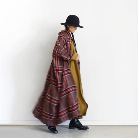 ichiAntiquités  700323 Wool Tartan Over Shirt Dress / B : BROWN
