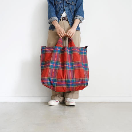 ichi 181139  Cotton INDIGO  Tartan Bag / RED