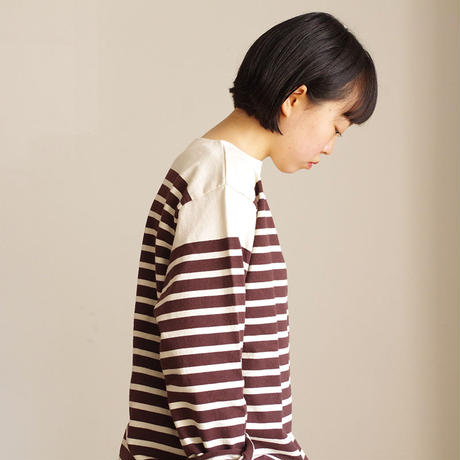 ichi 190541 Panel Border Pullover / NATURAL × BROWN