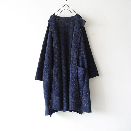 i c h i 180481 Hand Spin Yarn Long Cardigan / Navy