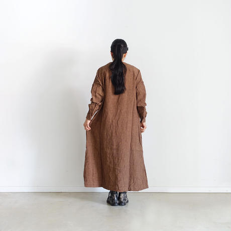 ichiAntiquités 500320 柿渋染め Linen Dress / PERSIMMON STRIPE
