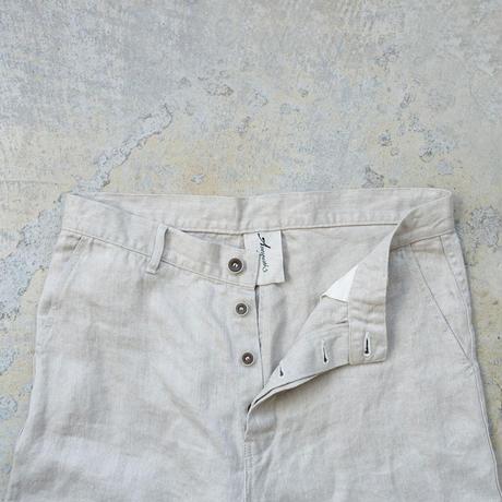 ichiAntiquités 500634  Linen Denim Work Pants / B : NATURAL