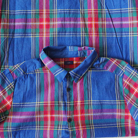 i c h i 180719 Indigo Tartan Check Shirts Dress / Dark