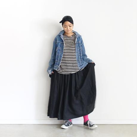 【ONLINE LIMITED】ichiAntiquités 600954 Linen Border Raglan Pullover / A : NATURAL × BLACK