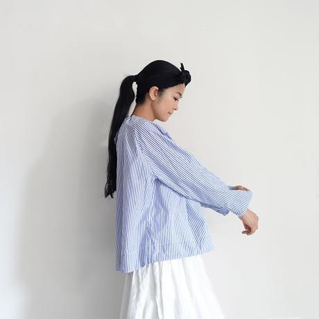 ichiAntiquités 600906 Cotton STRIPE Ribbon Neck Blouse / 2 COLORS : BLACK STRIPE・BLUE STRIPE