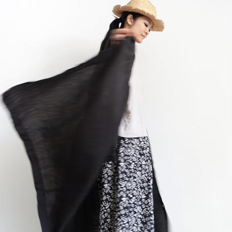 ichiAntiquités 601207 Linen Flower  Pants / C : BLACK