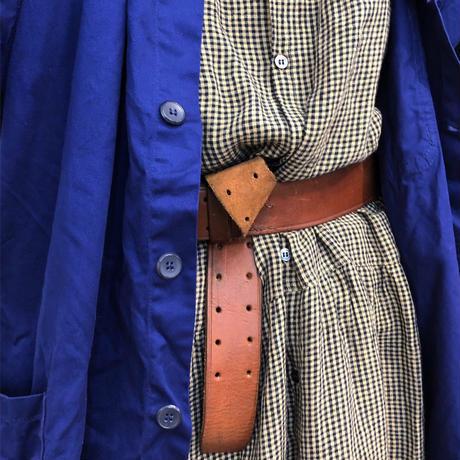 ichiAntiquités 600610 AZUMADAKI Linen Gingham Shirt Dress / A : BEIGE
