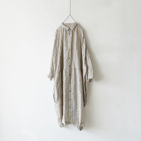 ichiAntiquités × rennes 100651 Linen Wool Stripe Shirt Dress / BLUE