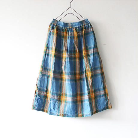 i c h i 180720 Indigo Tartan Skirt / Light