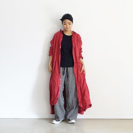 【ONLINE LIMITED】ichiAntiquités 600646 Cotton Wool Gingham Pants+Bag / A :  NATURAL GINGHAM PANTS