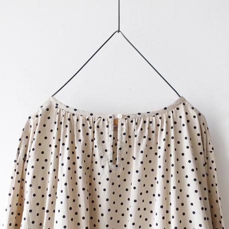 i c h i  201018 Dots Gather Ribbon Dress / B : BEIGE