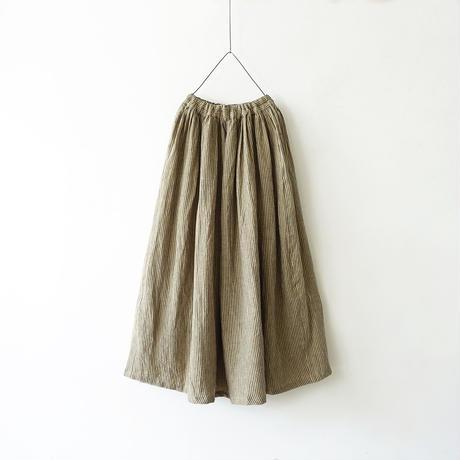 ichiAntiquités 600611 Linen AZUMADAKI Stripes Skirt / C : BEIGE