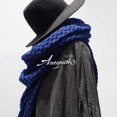 ichiAntiquités 600637 Cotton Wool Gingham Stole / 2 COLORS