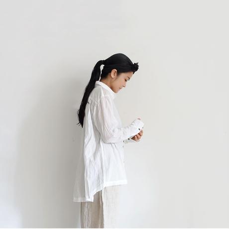 ichiAntiquités 100905  Cotton AZUMADAKI Shirring Shirt / WHITE