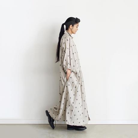 ichiAntiquités 700306 Organic Linen Embroidery Dots Shirt Dress / A : NATURAL