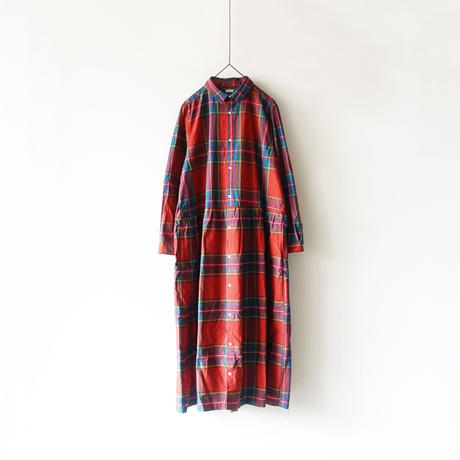ichi 181138  Cotton INDIGO  Tartan Shirt Dress / RED
