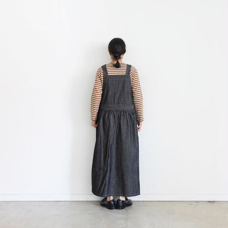 ichi 200440 Black Denim apron One Piece / DARK
