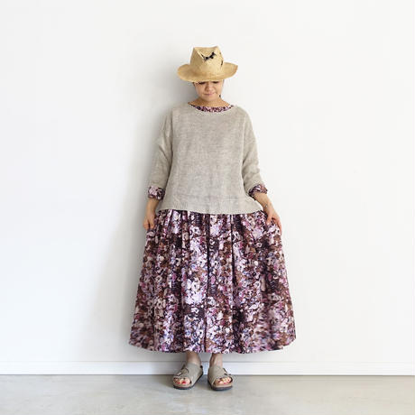【ONLINE LIMITED】i c h i  201143 Painting Flower Volume Dress / C : PINK