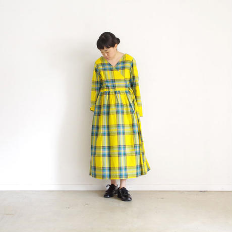 i c h i 181104 Cotton INDIGO Tartan Check Cache Coeur Dress / Yellow