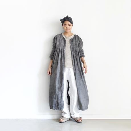 ichiAntiquités  601243  Handdye KHADI Cotton Pintuck Flare Shirt Dress / A : SUMI